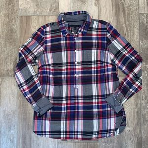 TOMMY HILFIGER Red White and Blue Plaid Top Small